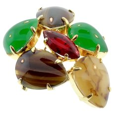 Vintage CHRISTIAN DIOR 1963 Germany Art Glass Cabochon Cluster Brooch Pin