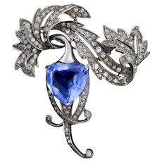 Vintage 1940's Marcel BOUCHER Sterling Silver Sapphire Heart Rhinestone Brooch Pin