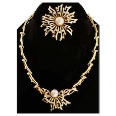 Vintage CHRISTIAN DIOR By Mitchell Maer Flower Pearl Rhinestone Necklace & Pin SET