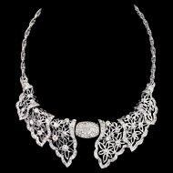 Vintage RALPH DEROSA Sterling Pierced Floral Lacey Rhinestone Collar Necklace