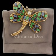Vintage CHRISTIAN DIOR Dragonfly Figural Brooch Pin +Original Pouch MINT NOS