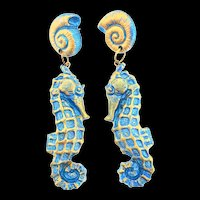 "1980's Runway 4"" Metallic Blue & Gold SEAHORSE Figural Dangling Pierced Earrings"