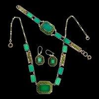 Amazing Vintage Art Deco CZECH Emerald Glass Enamel Necklace Bracelet Earrings SET