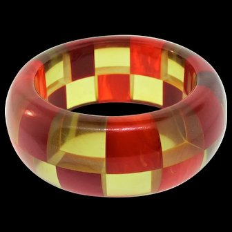 Vintage SHULTZ Signed Apple Juice & Marbled Checkerboard BAKELITE Bangle Bracelet