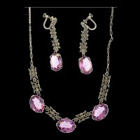 Art Deco Sterling Amethyst Glass Marcasite Necklace & Long Dangle Earrings SET