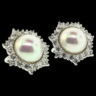 Vintage CHRISTIAN DIOR Fx Pearl Swarovski Crystal Rhinestone Clip EARRINGS