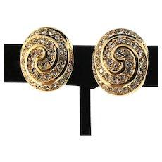 Vintage CHRISTIAN DIOR Swirl Swarovski Crystal Rhinestone Clip EARRINGS