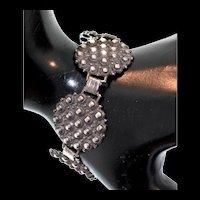 Vintage 1880s Art Deco Brutalist Sterling Silver Panel Bracelet Pat #236854