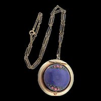 Vintage Art Deco Guilloche Enamel Rose LOCKET Pendant Necklace Enamel Chain XXXVII