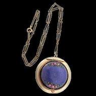 Vintage Art Deco Guilloche Enamel Rose LOCKET Pendant Necklace Enamel Chain XXXVII