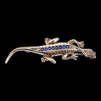 Vintage 1940s REJA STERLING Rhinestone LIZARD Gecko Figural Brooch Pin