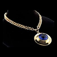 Vintage NETTIE ROSENSTEIN Huge Sapphire Crystal Modernist Pendant Curb Link NECKLACE