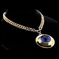 Vintage NETTIE ROSENSTEIN Huge Sapphire Crystal Modernist Pendant Curb Link NECKLACE