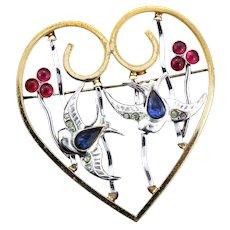 RARE 1940s KREISLER Flying Birds in Caged Heart Figural Rhinestone Brooch Pin