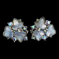 Vintage Large TRIFARI Fruit Salad Carved Glass Leaves Rhinestone EARRINGS