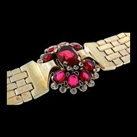 Vintage 1948 Philippe TRIFARI Tesselated Ruby Red Faceted Glass Rhinestone BRACELET