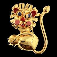 Vintage 1940s Signed MONET Lion Figural Enamel Fur Pin Clip Brooch