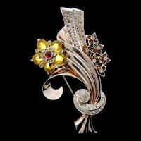 Vintage 1940s PENNINO Topaz Rhinestone FLORAL Flower Spray Figural BROOCH PIN