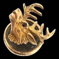 Antique Victorian 10K Gold Garnet ELK ELKS CLUB Button Hole Tie Tac Stud Pin