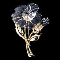 """Spectacular 4"""" Vintage JELLY BELLY Lucite Rose Flower Figural Rhinestone Pin Brooch"""