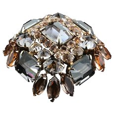 Vintage Signed SCHREINER NY Inverted Givre Rhinestone Square Brooch Pin Book Piece