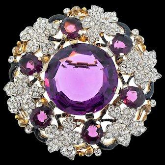 1940s Philippe TRIFARI Empress Eugenie Amethyst Glass Rhinestone BROOCH Pin