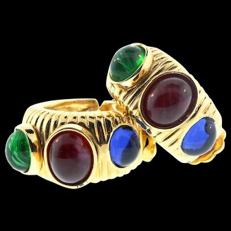 Vintage Unsigned CHRISTIAN DIOR Emerald Sapphire Ruby Glass Cabochon CLIP EARRINGS
