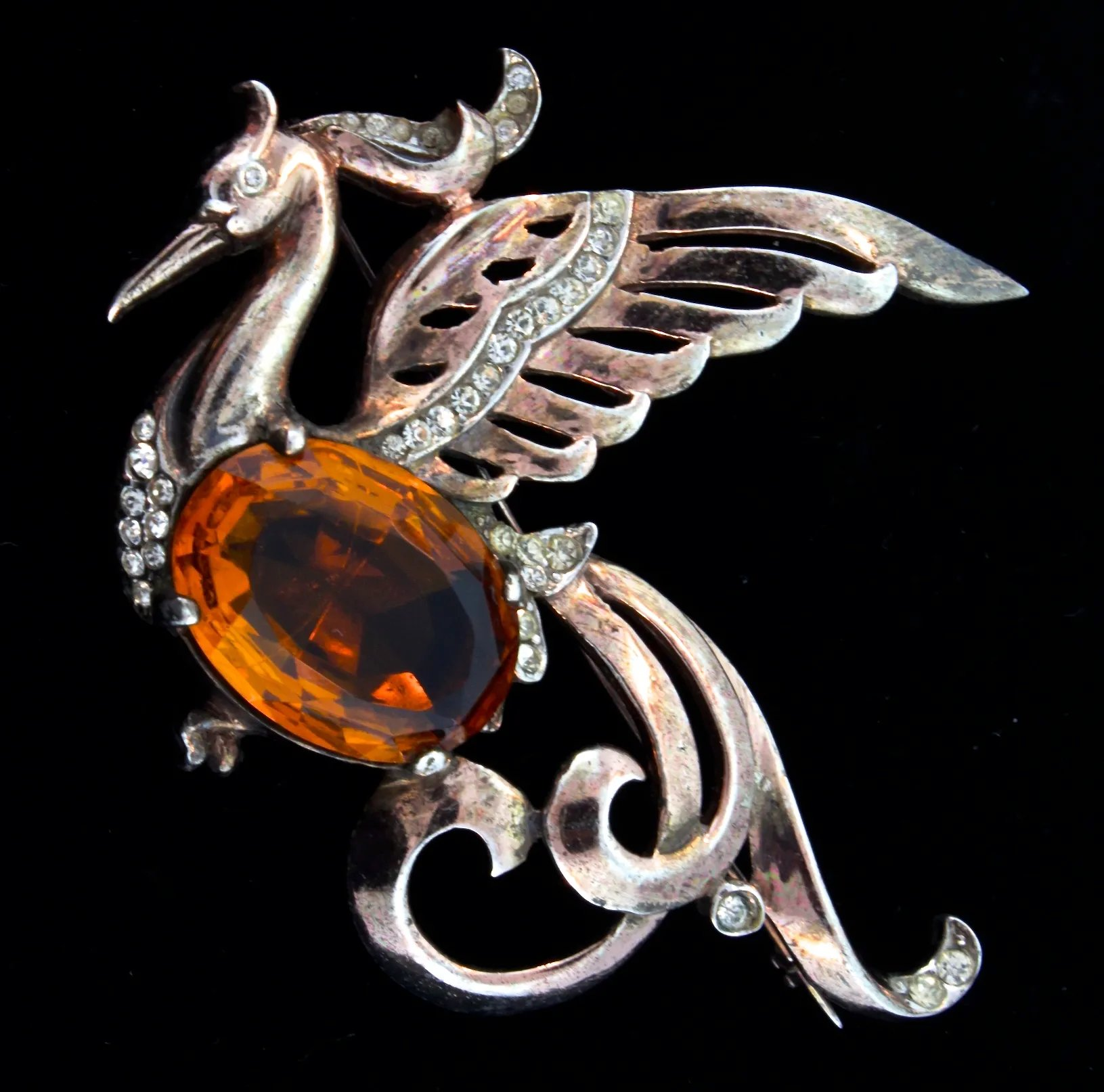 db8b1546dcc Vintage 1940s REJA STERLING Rhinestone Peacock Fantasy Bird Figural Brooch  Pin. Click to expand