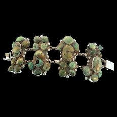 Massive EARLY MEXICAN Turquoise Sterling Panel Bracelet 135g 2.25 Inches Wide