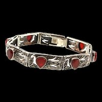 "Vintage ""ND"" Art Deco Sterling Silver 925 Marcasite Carnelian Panel Bracelet"
