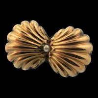 Vintage Victorian Pinchbeck Seed Pearl Petite Bow Pin