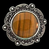 Vintage Taxco Mexican MB Sterling Silver Tigers Eye Pin Pendant