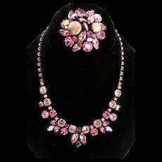 Vintage REGENCY Shades of Pinks Rhinestone Fx Pearl Necklace & Brooch Pin Set