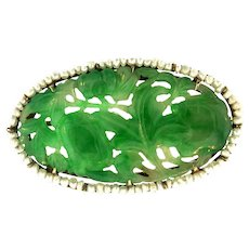 Art Deco 14K Yellow Gold Carved Pierced Nephrite Jade Seed Pearl Pin Brooch