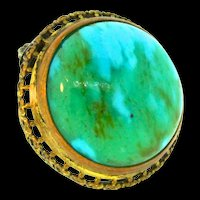 Vintage Art Deco CZECH Emerald Green Turquoise Glass Cabochon Brass Pin Brooch