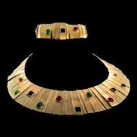Vintage Runway LES BERNARD Egyptian Cleopatra Cabochon Necklace & Bracelet Set