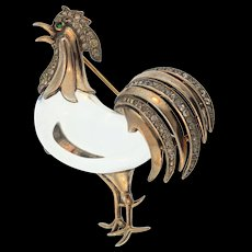 """1944 TRIFARI Sterling Jelly Belly Rhinestone ROOSTER """"Chanticleer"""" Figural Pin Book Piece"""