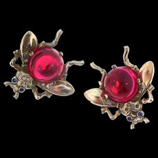 Vintage TRIFARI Jelly Belly Ruby Red Lucite Sterling FLY Figural Clip EARRINGS