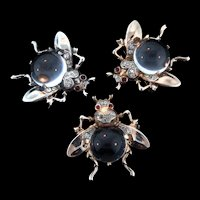 Vintage TRIFARI Jelly Belly CLEAR Lucite Sterling SET OF 3 FLIES Figural Pins