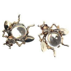 Vintage TRIFARI Jelly Belly CLEAR Lucite Sterling FLY Figural Clip EARRINGS