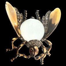 Vintage TRIFARI Jelly Belly CLEAR Lucite Sterling LARGE FLY Figural Pin Brooch