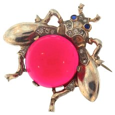 Vintage TRIFARI Jelly Belly RUBY RED Lucite Sterling MEDIUM FLY Figural Pin Brooch