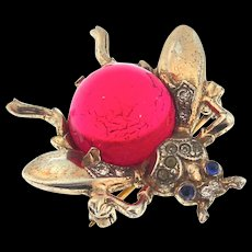 Vintage TRIFARI Jelly Belly RUBY RED Lucite Sterling SMALL FLY Figural Pin