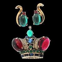 Vintage TRIFARI Sterling Rhinestone Crown Figural Brooch PinLARGE & Clip Earrings