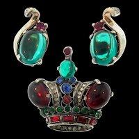 Vintage TRIFARI Sterling Rhinestone Crown Figural Brooch PinSMALL & Clip Earrings