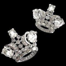 """Vintage TRIFARI """"Royal Pair"""" Rhinestone SET Of 2 CROWN Figural Brooch Scatter Pins"""