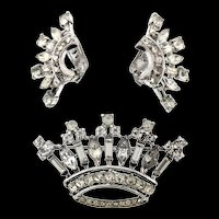 Vintage 1947 Philippe TRIFARI Sterling Rhinestone CROWN Figural Pin & Earrings Set