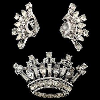 Vintage 1947 Philippe TRIFARI Sterling Rhinestone CROWN Figural Pin & Earrings Set