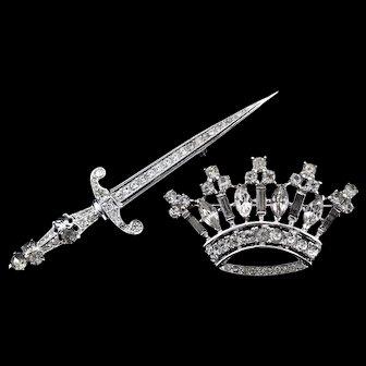 1940s Philippe TRIFARI Sterling Silver SWORD & CROWN Figural Rhinestone Pins Set