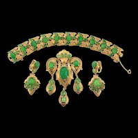 Vtg TRIFARI Jewels of India Triple Drop Brooch Pin Bracelet Dangle Earrings